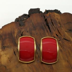 Vintage huge rectangle red acrylic gold 90s stud